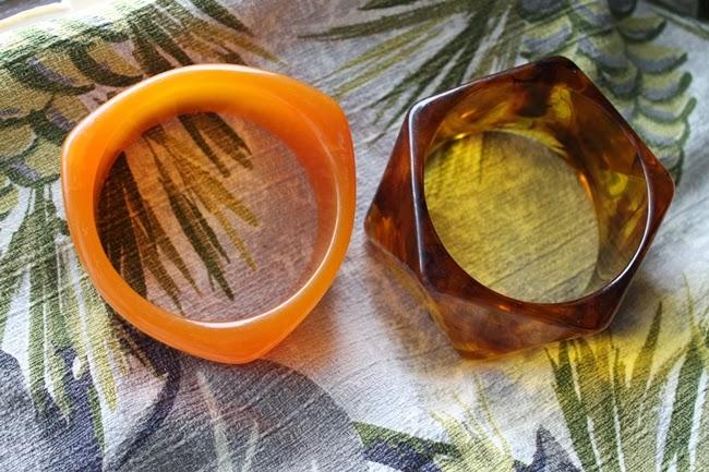 odd shaped lucite bangles