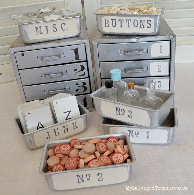 stamped and stenciled metal storage containers