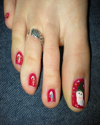 decoracion de santa uñas de pies