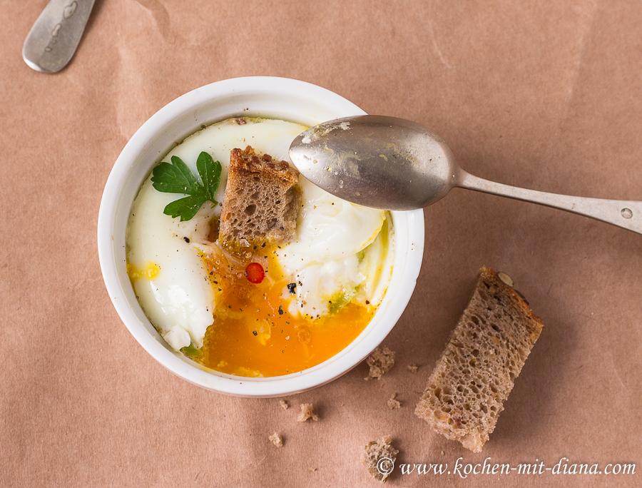 Gebackene Eier mit Pfifferlinge und Lauch