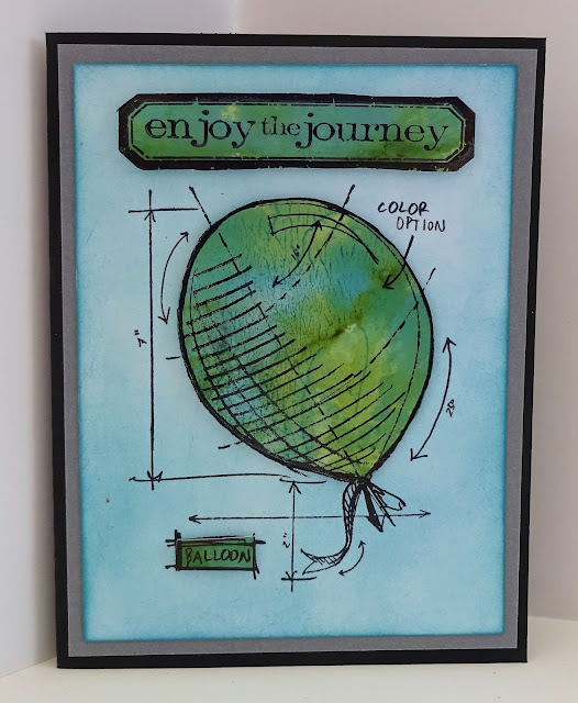 Tim Holtz Blueprint balloon stamp card