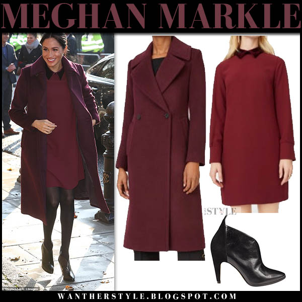 Meghan Markle in burgundy club monaco daylina coat and burgundy sallyet mini dress royal family winter style november 21