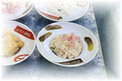 Nudelsalat,Schnittlauchquark, Kartoffelsalat, Radieschensalat