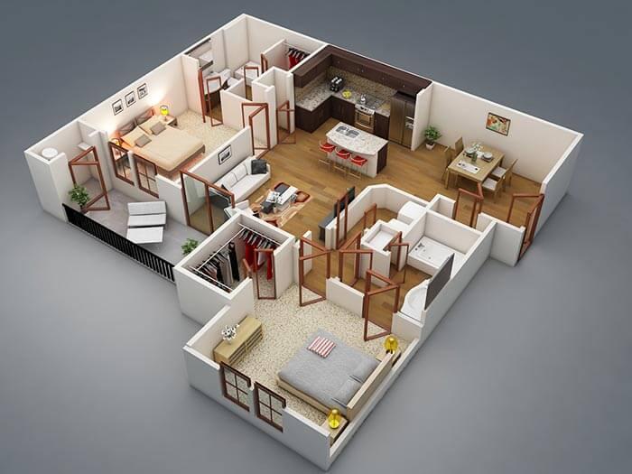 2+1 modern daire planı