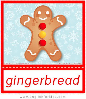 gingerbread, Christmas food flashcards