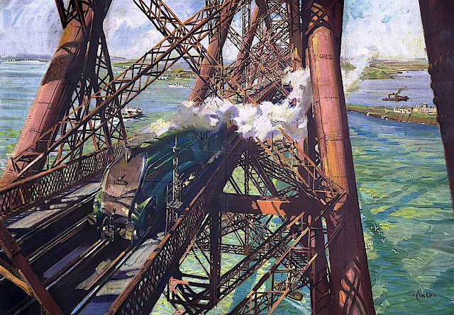 a Terence Cuneo travel poster illustration of a train crossing a tressel