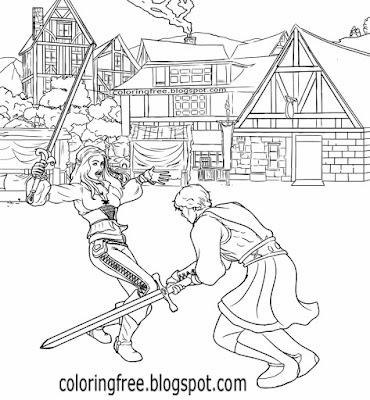 Clipart sword fight cartoon Dark Ages war coloring book page medieval village drawing for older kids