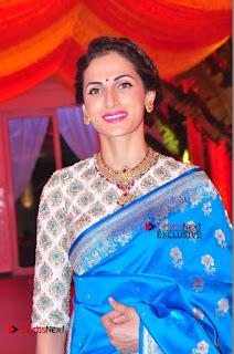 Actress Model Shilpa Reddy Exclusive Stills in Blue Saree at Vijay Karan Aashna Wedding  0011.JPG