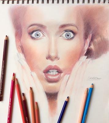 retrato de modelo dibujada con lápices de color polychromos