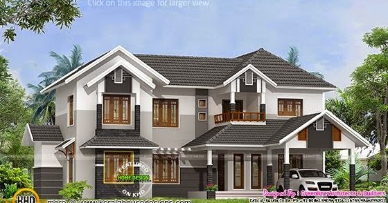 2788 Sq Ft Sloped Roof House Plan Kerala Home Design And