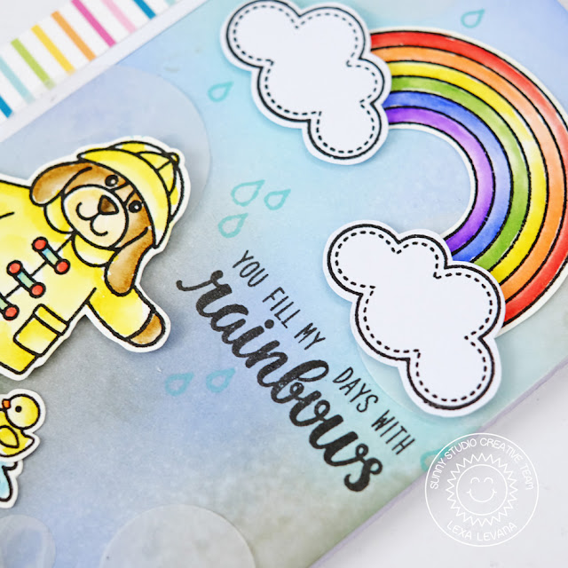 Sunny Studio Stamps: Color Me Happy Rainbow Rainy Day Card by Lexa Levana