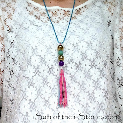 tassel necklace form old bag charm