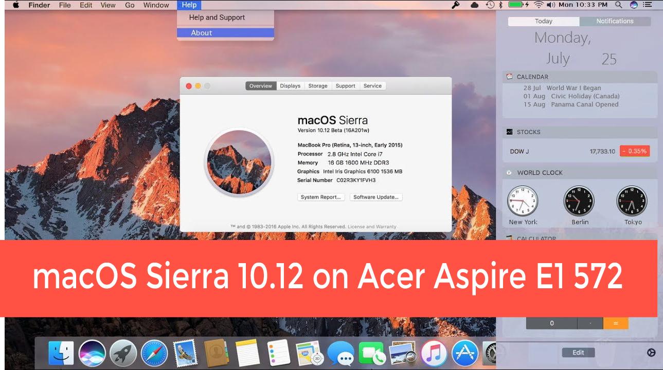 Hackintosh Laptop Acer: Enable Atheros AR9565 WiFi on macOS Sierra