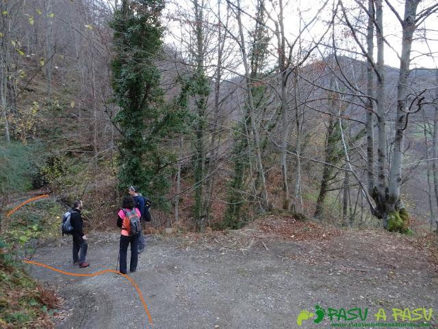 Ruta a Peña Melera y Los Pandos: Cruce en la pista que va a las Foces del Pino
