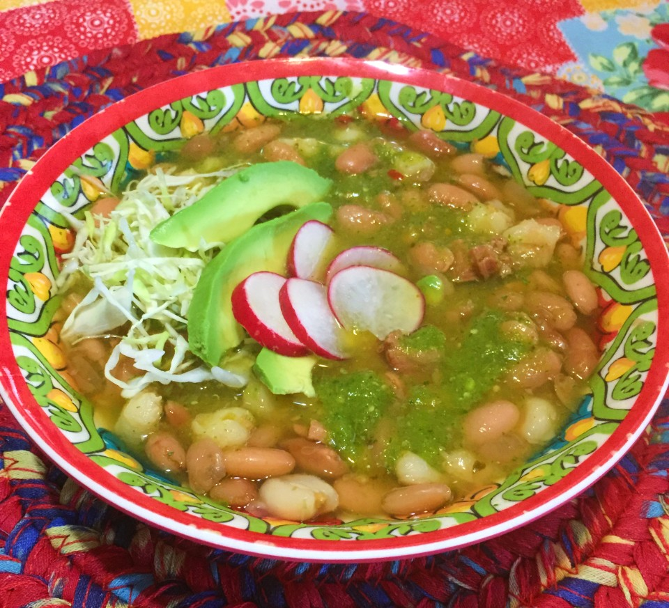 Savory Posole Verde with beans and hominy.
