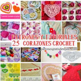 25 patrones y tutoriales de corazones tejidos a crochet