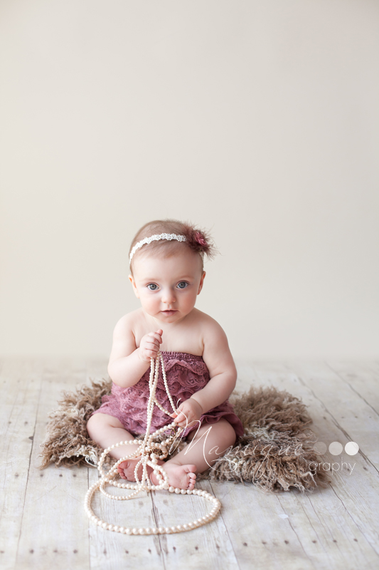 Vancouver Baby Photographer - Big Eyed girl with pearls
