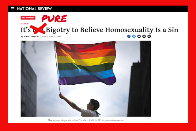 "Screenshot of National Review's Religion OpEd by David French ""It's Not Bigotry to Believe Homosexuality is a sin"""