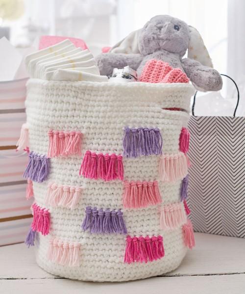 Crochet Fringe Basket - Free Pattern