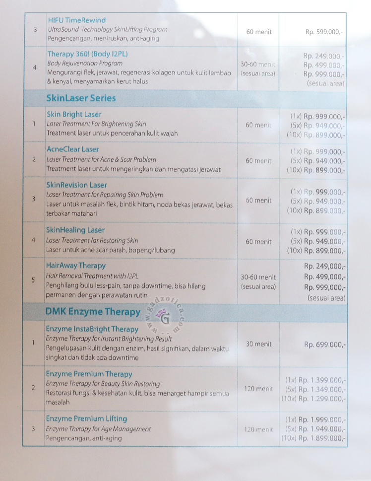 Harga Treatment Maxine Clinic