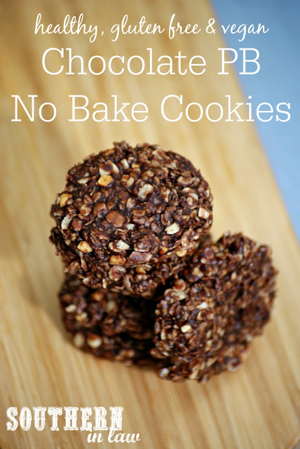 Vegan Chocolate Peanut Butter No Bake Cookies Recipe - healthy, low fat, gluten free, refined sugar free, clean eating friendly, no bake cookies, vegan