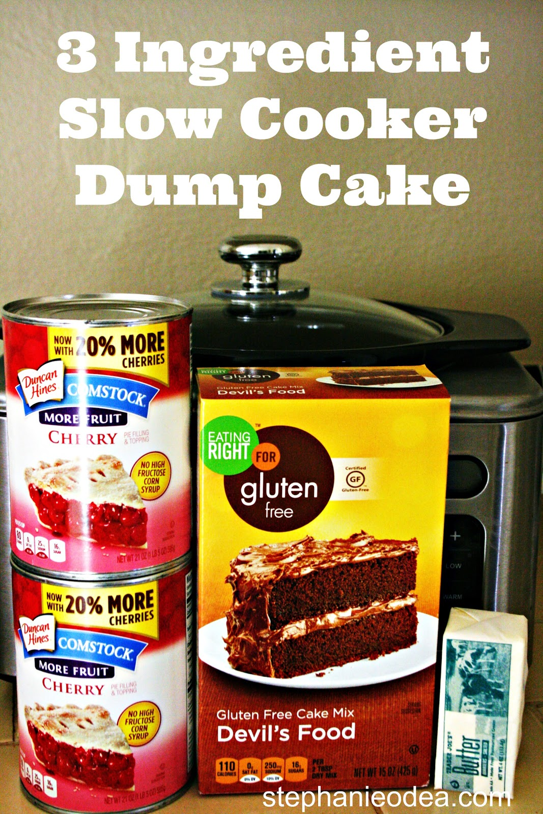 3 Ingredient Slow Cooker Dump Cake. Use your own favorite combo -- yellow cake with apple pie, white cake with blueberry, etc!!