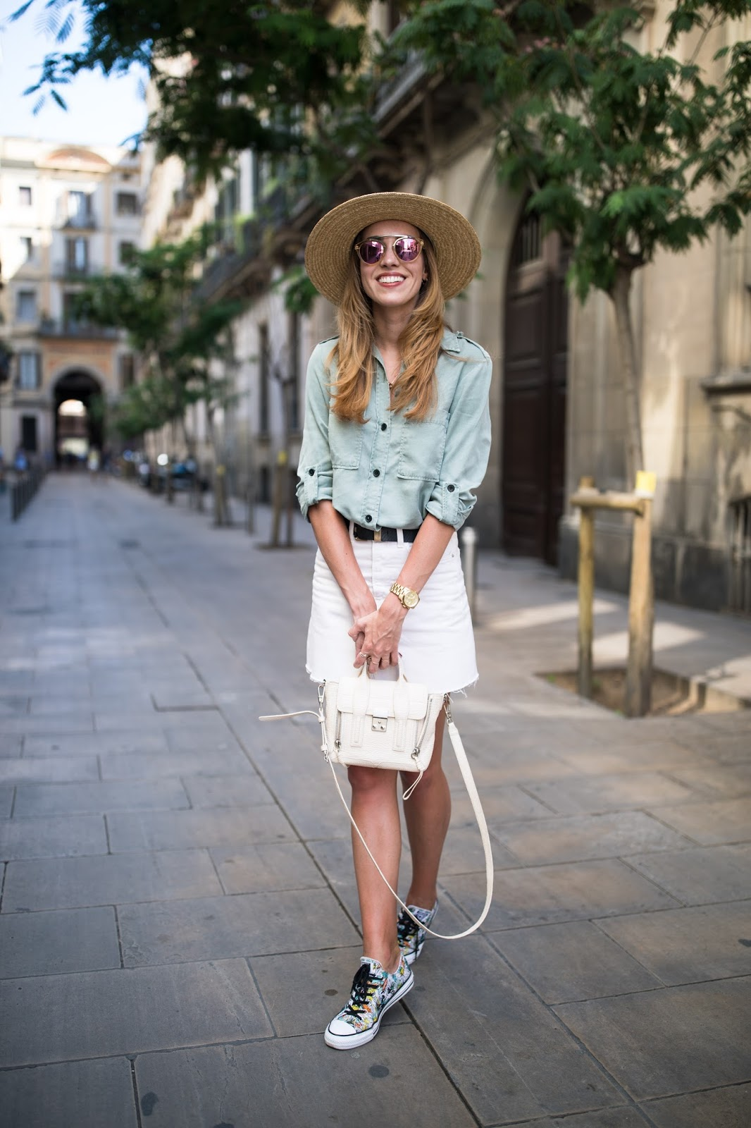 denim skirt button down shirt outfit