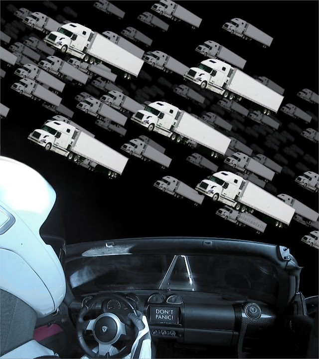 A view inside Elon Musk's 'cherry red' Tesla roadster, hurtling through space towards an asteroid belt; an asteroid belt made up of white articulated trucks.