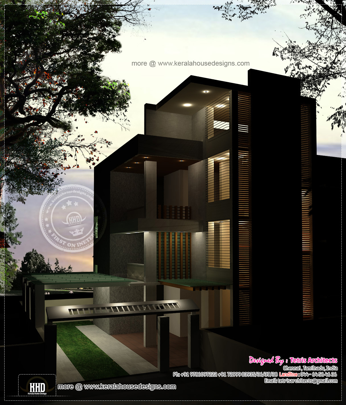 Luxury 3 floor house elevation with floor plan kerala for Modern house designs and floor plans in india