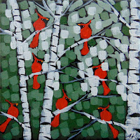 Winter Morning Music No. 1-3 acrylic landscape painting of cardinals by aaron kloss, birch trees