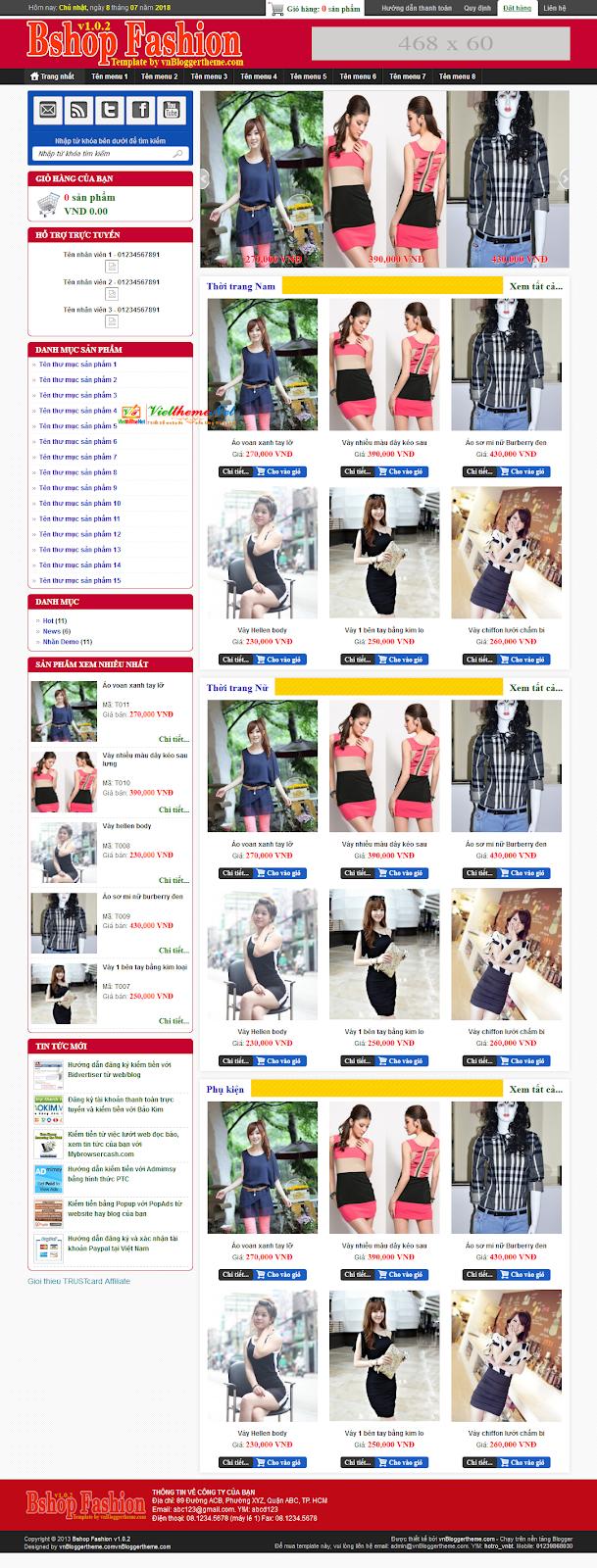 Bshop Fashion - Giao diện bán hàng thời trang chuyên nghiệp