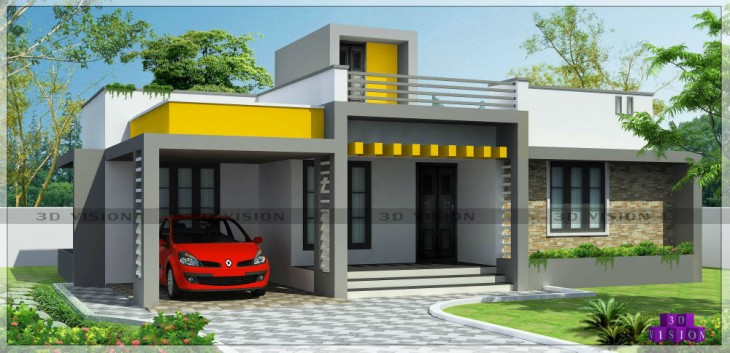 Contemporary House Elevation Single Floor: 1300 Sqft 3 BHK Single Floor Beautiful Contemporary Elevation