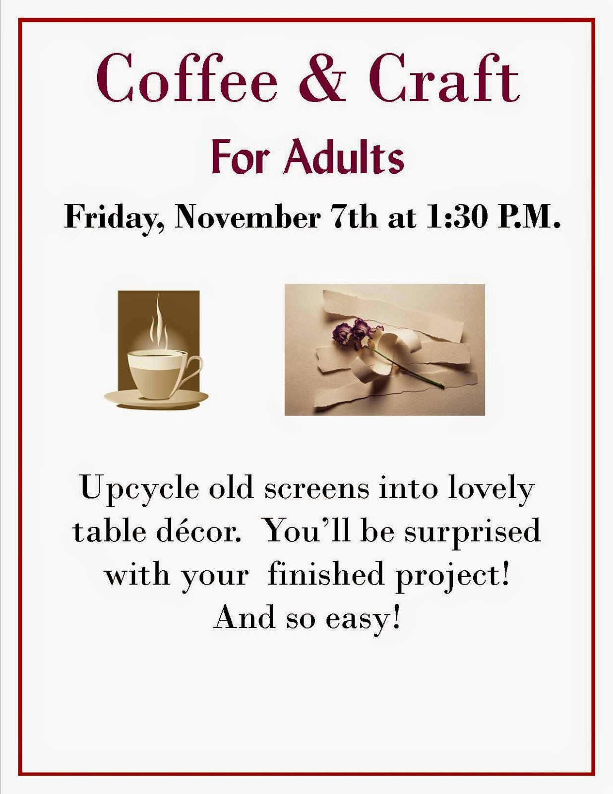 coffee and craft for adults