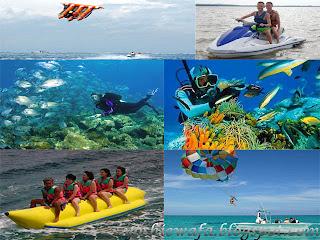 banana boat, parasailing, jetski, menyelam, ikan terbang