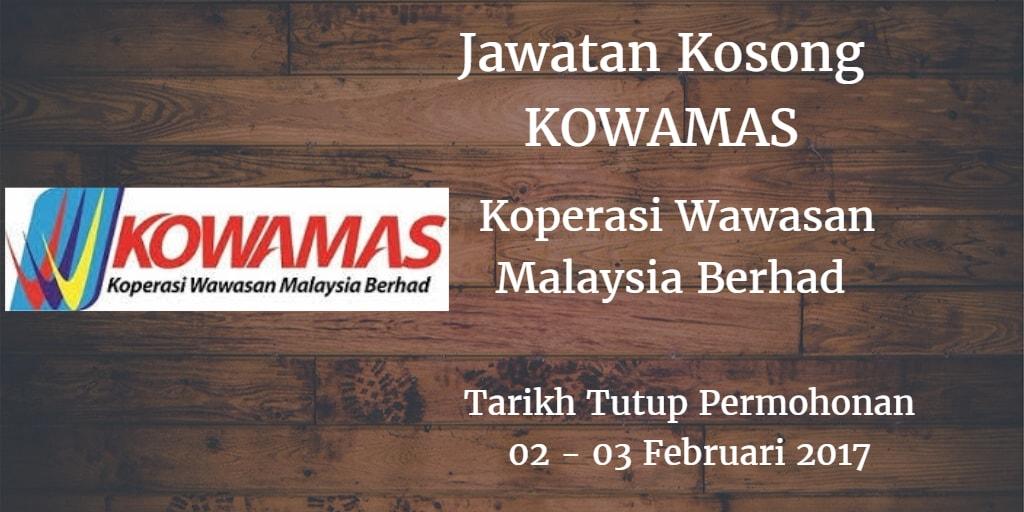 Jawatan Kosong KOWAMAS 02 - 03 Februari 2017
