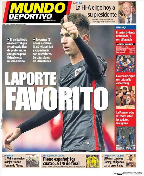 Portada del periódico Mundo Deportivo, viernes 26 de febrero de 2016