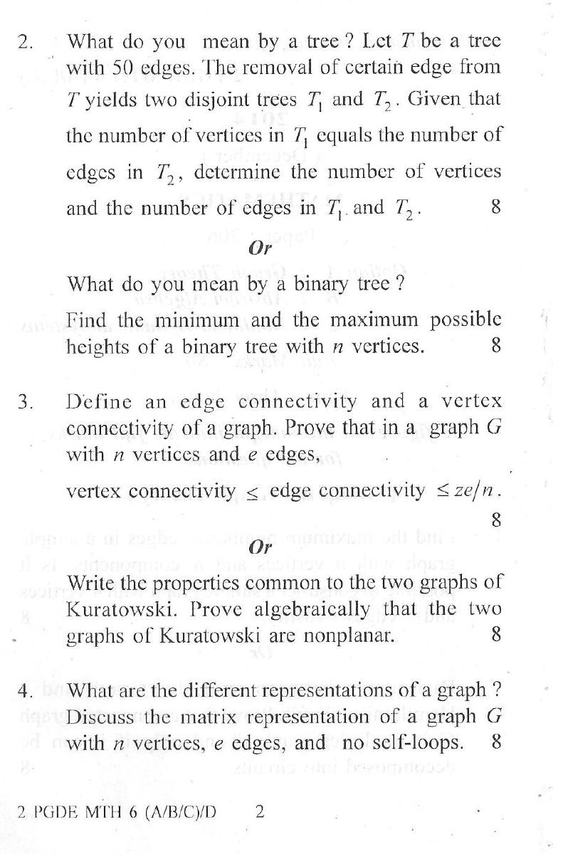 Dibrugarh University Graph Theory, Abstract Algebra, Non