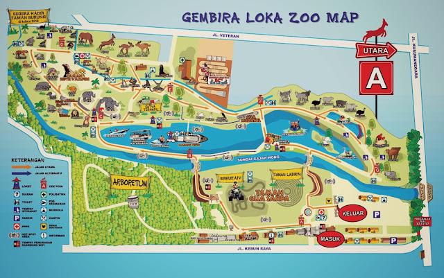 Gembiraloka Zoo map