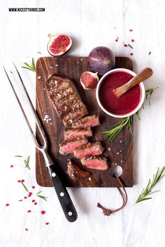 Gegrilltes Rindersteak Dry Aged Beef Rumpsteak mit Feigen Champagner Sauce
