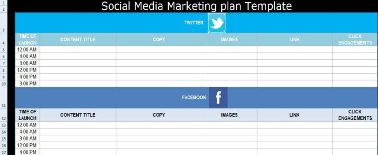 Microsoft Excel Templates Social Media Marketing Plan Template Free