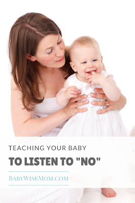 "Teaching your baby to listen to the word ""no."" Baby can understand what no means and respond appropriately. This post discusses how to accomplish this."