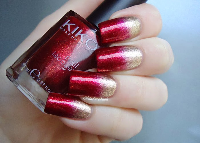 Molto Silvia Lace Nails: Gold and red gradient LV97