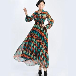 Contoh Model Long Dress Terbaru