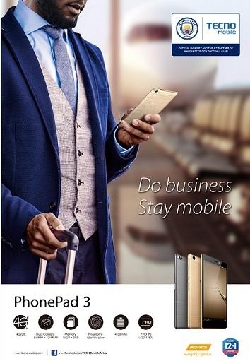 'Do business, stay mobile' Tecno PhonePad 3 Phablet