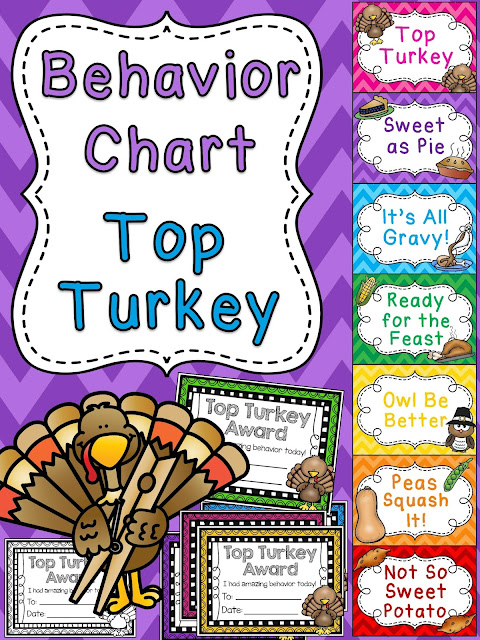 Top turkey Thanksgiving behavior chart - so much fun for November classroom management