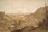 View of Campagna di Roma from Tivoli by Claude Gellee - Landscape Drawings from Hermitage Museum