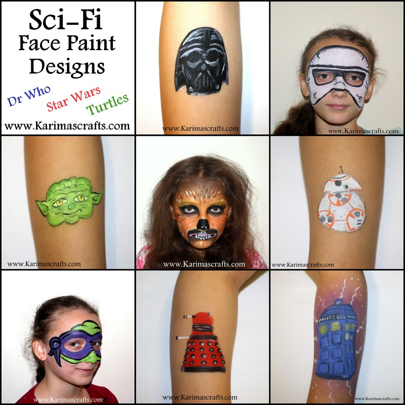 Karima S Crafts Sci Fi Face Painting Designs Star Wars Dr Who Turtles