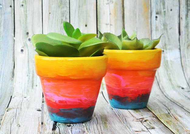 Colorful Flower Pots With Simple Rainbow Ombre Flower Pots