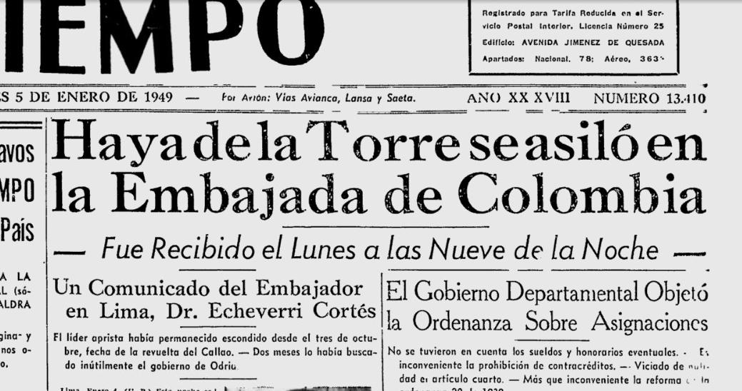 Resultado de imagen para Fotos de Víctor Raúl Haya de la Torre en la Embajada de Colombia