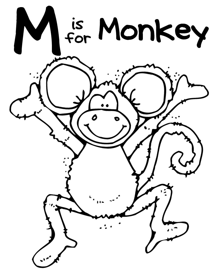 m for monkey coloring pages - photo #22